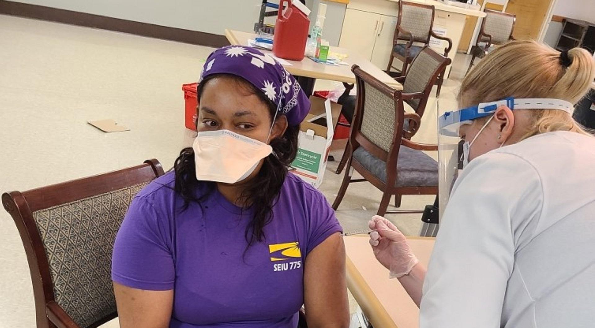 SEIU 775 caregiver receives the COVID-19 vaccine