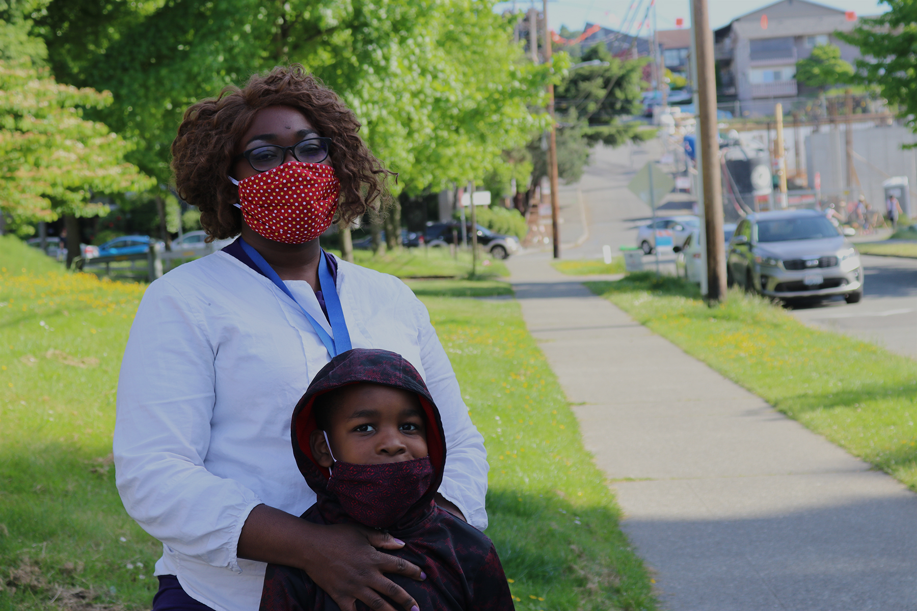 A caregiver and her son